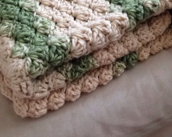 Double thick Sage and beige Shell Crochet Baby Blanket,  lap size.