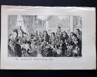 Cruikshank C1860 Antique Satire Print. The Happiest Momentor of My Life