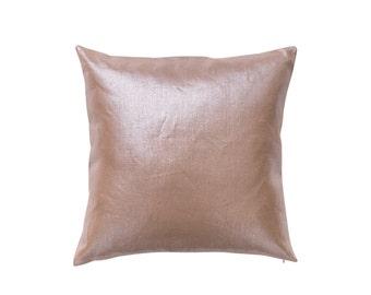 Silver Metallic Tan Linen Pillow Cover in Tan Doe