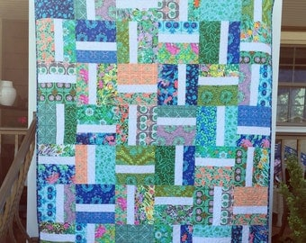 Lap, throw, couch, patchwork quilt blanket floral boho blue green orange white