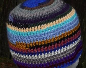 Scrap homeless crochet beanie hat Simple stripes scrap yarn Darker shades