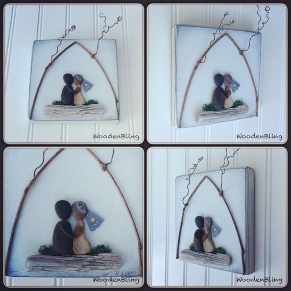Stone Art Wedding Gift : Art, Wedding Gift, Engagement Gift, Love, Beach Decor, Stone Art ...