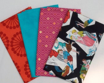 Four Fat Quarter Cuts - French Bull Orange Floral Spokes,Turquoise,  Cuzco Woven Geo in Fuchsia by Kate Spain, Teen Life, TOTAL of 1 Yard