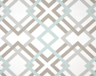 1 yard Winston Snowy  - Home Decor Fabric Duck Cloth  - Premier Prints  - Taupe Grey Gray Blue White Square Geometric Links