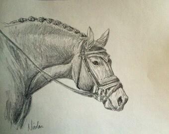 Orignial horse artwork Nicolae Art Nicole Smith artist graphite pencil sketch 8x10 Friesian running