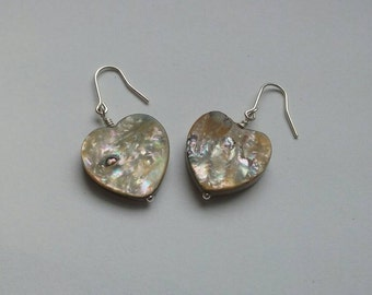 Abalone Jewelry, Heart Shaped Abalone, Heart Shape Abalone Sterling Silver Earrings, Heart Jewelry