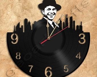 Wall Clock Sinatra  Vinyl Record Clock Upcycled Vinyl