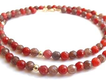 14K solid gold beads multi color jade gemstone bracelet natural beads stone