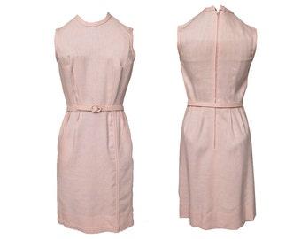 Vintage 1960s Dress Pink Linen Shimmy Dress Fitted Bodice & Skirt plus Belt Self Fabric Details JAMISON