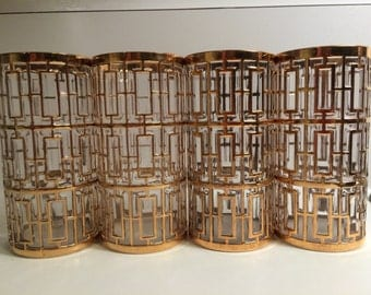 Iconic SHOJI Gold Set of 4 Imperial Glass Tall Tumblers Collector set EXCELLENT Mid Century Bar Ware Fabulous Glasses