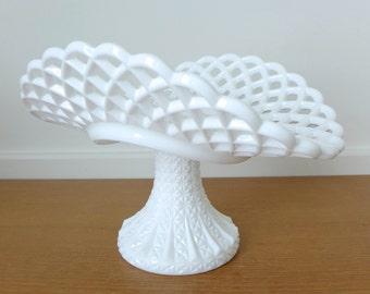 Large lattice edge or lace edge milk glass banana stand
