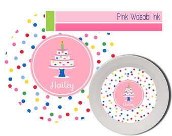 Birthday Plate Bowl Set, Personalized Plate Bowl, Kids Melamine Dishes, Birthday Cake Plate, Birthday Girl Plate