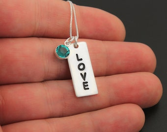 Sterling silver 925 Love bar charm necklace pendant with Birthstone and 925 Chain (N112)