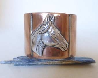 Vintage Wide Copper Cuff Bracelet with Sterling Silver Horse