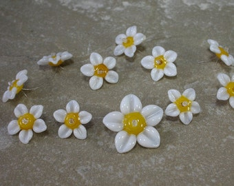 White Blossom Beads set of 11