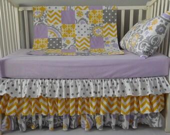 Girl Baby Bedding,  Suzani Twill Wisteria, Grey Polka dot, Yellow Chevron: 1pc-4pc Girl Crib  Bedding Set. Ruffled 3 Layers Crib Skirt