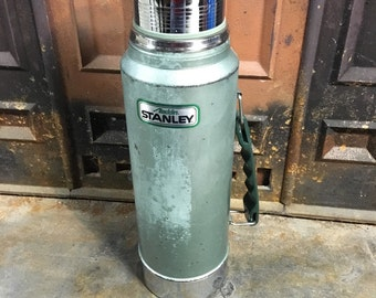 "Vintage Aladdin Stanley Thermos A-944C Green Made in USA, 1 Quart ""A 79, Industrial Thermos, Steam Punk"" Date, Coffee Pot"
