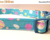 """Sale 50% Off Easter Collar - Blue with Easter Eggs -""""Easter"""" - NO EXTRA Charge for colored buckles"""