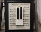 Piano Keys Framed Art Decor with 8 x 10 Black Frame and Vintage Sheet Music - Upcycled Piano Keys - Piano Art - Piano Decor
