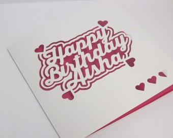 Funky birthday card / Hanging words / Hearts / Stars Papercut card