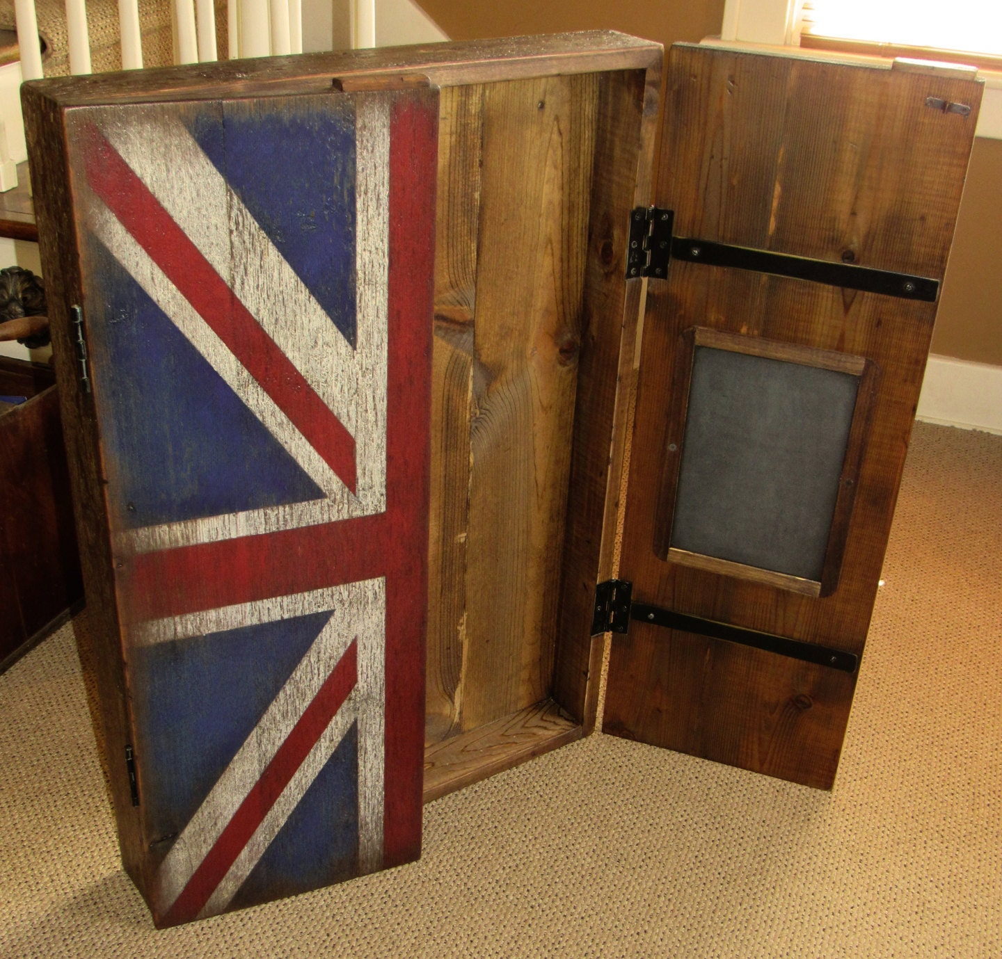 Rustic Dartboard Cabinet With British Flag