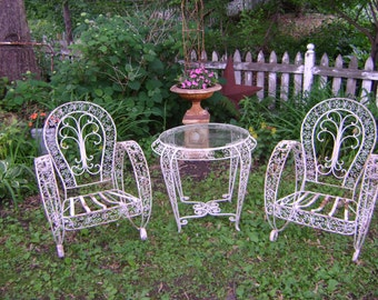 vintage victorian scrolly garden table and chairs