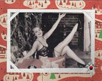 Handmade Christmas pinup card