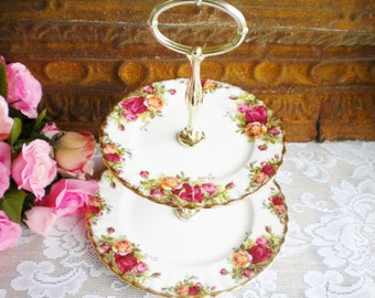 Vintage Two Tier Stand Dessert Stand Tidbit Tray ,Cake Stand By Royal Albert Old Country Roses Wedding Serving Tea Party Decor Gift Vintage