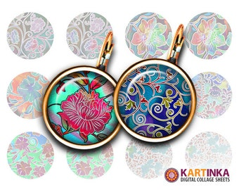 14mm 16mm 20mm Digital Images FLORAL PATTERNS V4 Printable Download for Earrings Cuff links Pendants Rings Bottle caps Crafting projects