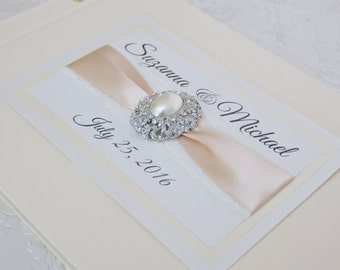 Wedding Guest Book - Personalized - ivory, vintage, ecru