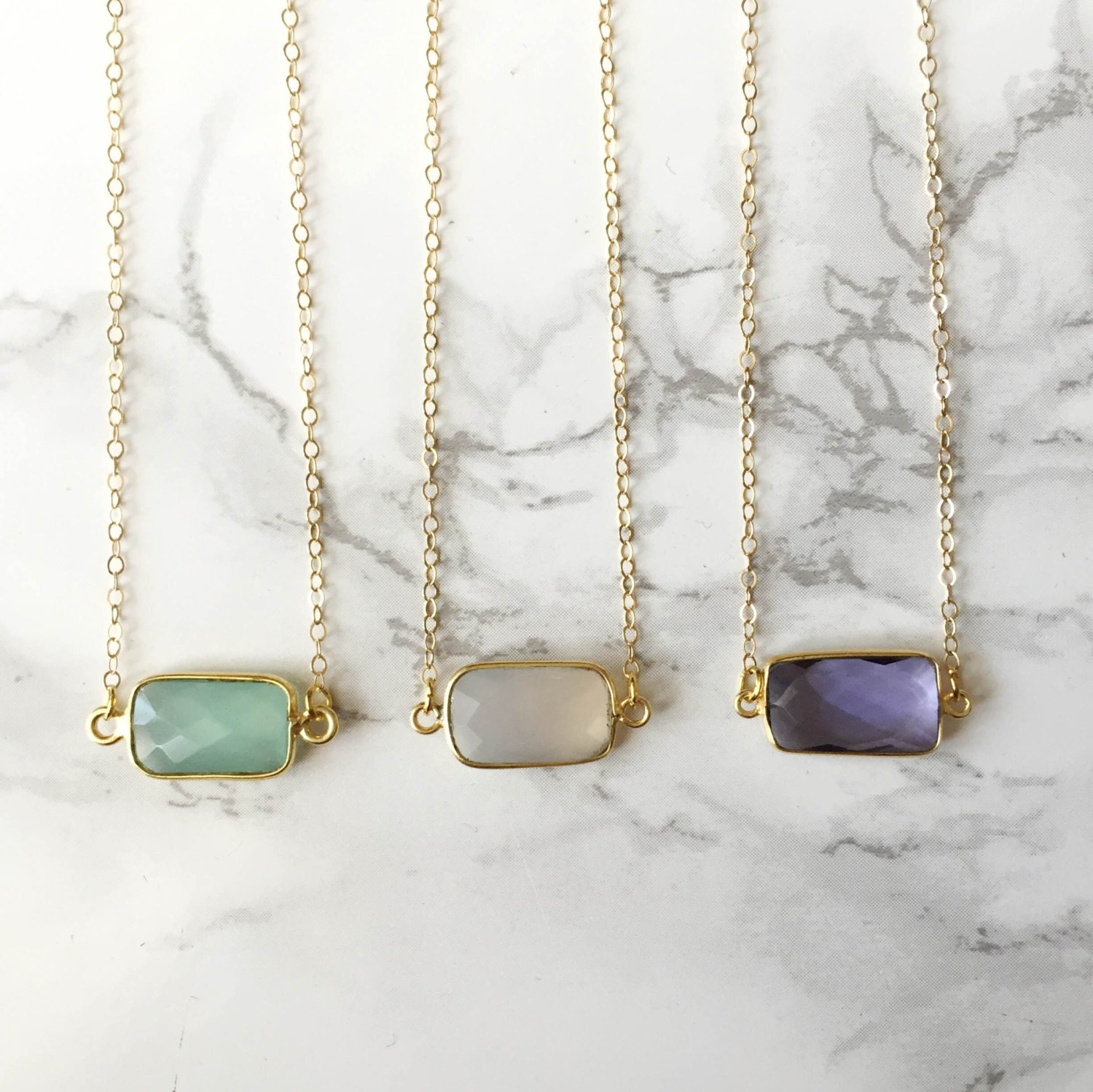As Seen on THE BACHELORETTE! - Small Rectangle Gemstone Necklace