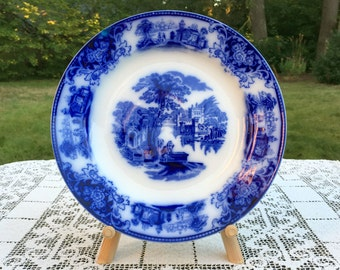 Antique Flow Blue Dinner Plate 10.5 in 'Shanghai' by WH Grindley England 1910  Transferware Collectible  Blue & White VG Cond