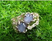 DEADsy LAST GASP SALE Natural Star Sapphire Ring, Gold Ring, Alternative Engagement Ring, Woodland Antique Filigree Hipster Ring size 9 to 1
