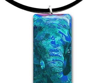 electric blue, Elephant pendant, hand painted unique artwork, Glass tile pendant, cyan blue colors