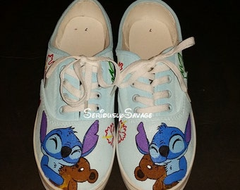Sweet Stitch and Teddy Bear custom painted shoes. Vans Converse or TOMS   Custom Disney Shoes.  Men Women Children