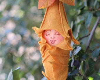 Sleeping Fairy Baby Fabric and Felt fantasy Art Doll