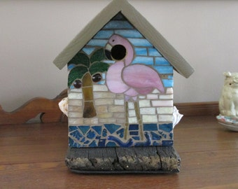 Stained glass mosaic flamingo birdhouse