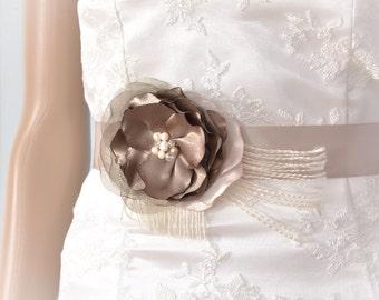 Taupe Wedding Floral Belt - Bridal Floral Sash - Wedding Taupe Flower Sash - Wedding Belt - Bridal Floral Belt - Flower Brooch