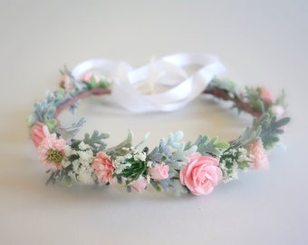 Pink Flower Crown, Flower Girl Crown, Flower Crown, Boho Wedding, Head Wreath, Pink Wedding, Bridal Headdress, Summer Wedding