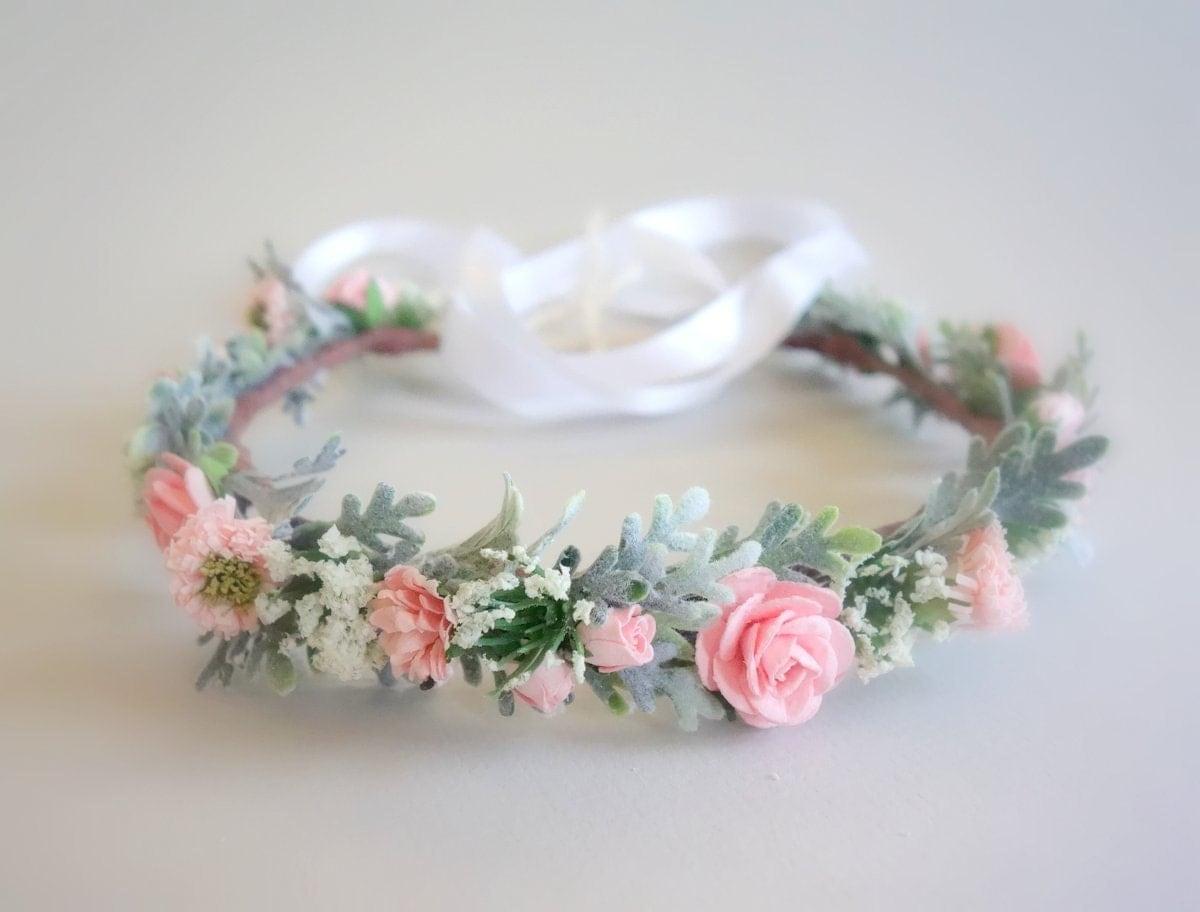 Pink Flower Crown Girl Boho