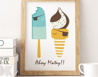Ice Cream Print, summer print,  Ahoy Matey, Icecream chocolate, Summer Wall Art, Icecream digital,  Beach Print, Kitchen Print, pirate print