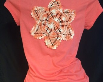 Peachy Pink Upcycled Crochet T Shirt