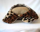 Leopard faux fur Peter Pan Collar,Detachable collar
