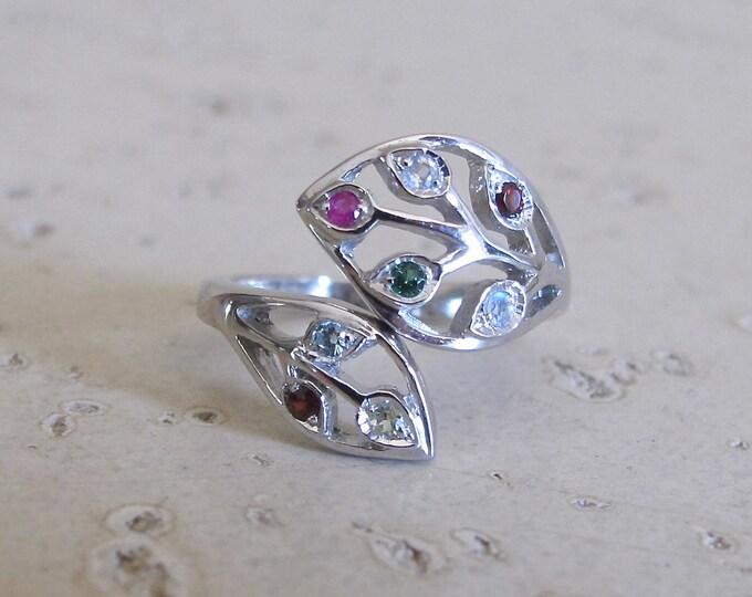 MultiStone Leaf Adjustable Ring- Family Birthstone Ring- Colorful Gemstone Ring- Childrens Mothers Birthstone Ring- Dainty Vine Ring