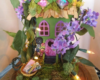Enchanting.....Large Button Fairy House......Lights.....OOAK