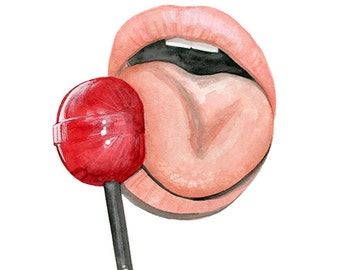 Lolipop, print from original watercolor and mixed media fashion illustration by Dena Cooper