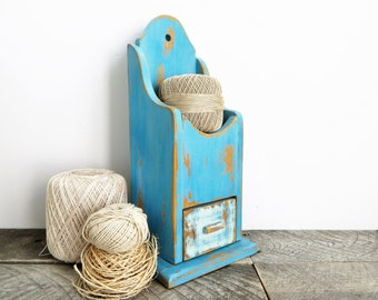 Rustic Blue Shelf - Hanging Shelf - Blue Home Decor - Eclectic Chic