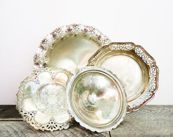Silver Tray - Collection of 4 - Pedestal - Pretty Vintage Serving