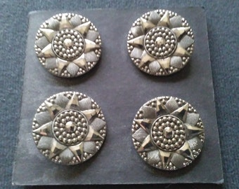 Antique Victorian/Edwardian silvered black glass buttons.  Coat size.  Set of four.