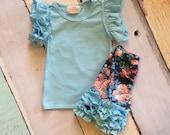light blue Flutter Sleeve Shirt-monogrammed flutter- m2m sew sassy